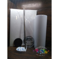 20oz stainless steel skinny tumbler. They come as blank white.
